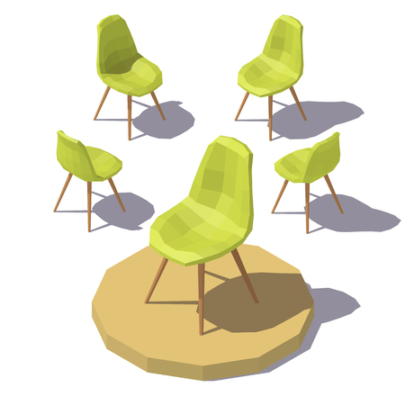 Isometric Green Office Chair Illustration