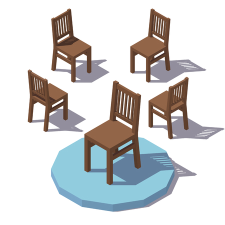 Vector isometric wooden chair