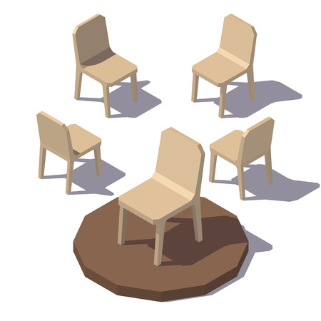 Isometric lowpoly Monolithic Chair Vector low poly illustration.