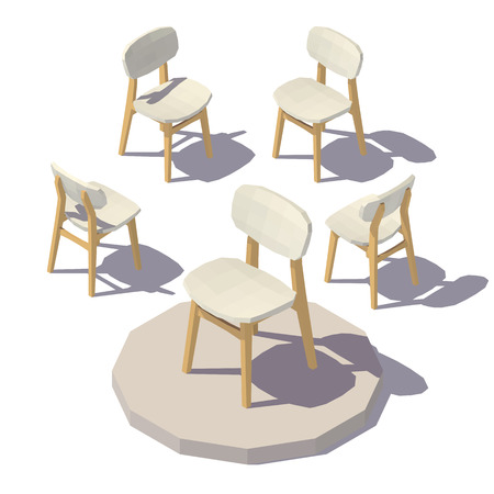Isometric low poly Designer Chair Vector low poly illustration.