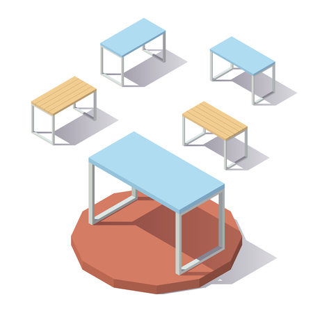 pc: Isometric low poly Office Table. Illustration