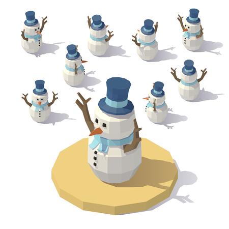 Pupazzo di neve di vettore low poly isometrico di vettore. Uomo di pupazzo di neve da diverse angolazioni. Vettoriali