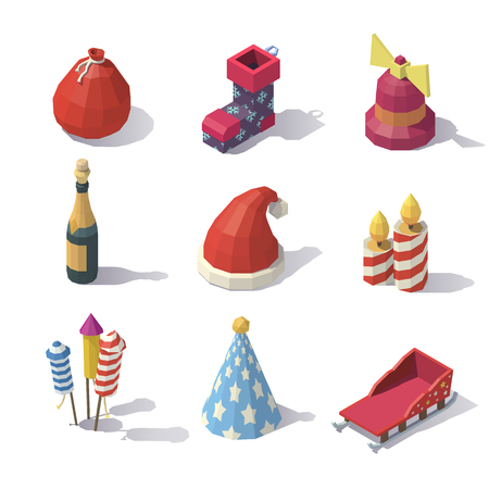 Isometric Christmas accessories isolated on white background. Illustration