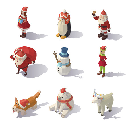 Vector Christmas characters Isometric Illustration