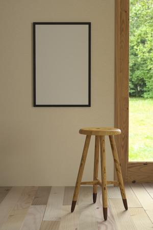 Maqueta de un póster y un taburete de bar sin respaldo