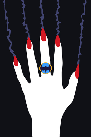 Vampire Hand with Red Claws. Ring with a picture of a bat. Vector flat art illustration of Halloween.