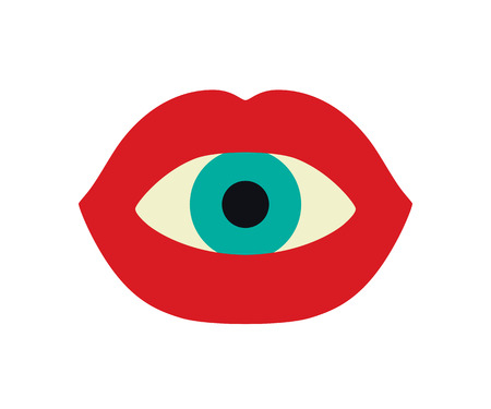 Eyeball in a mouth with red lips. Vector flat art illustration of Halloween. Çizim