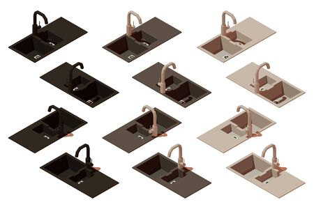 Vector isometric kitchen sink. Set of items to create a scene 向量圖像