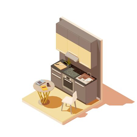 Vector isometric kitchen interior cross-section with island