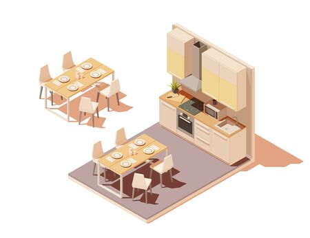 Vector isometric kitchen interior cross-section with island Reklamní fotografie - 131856898