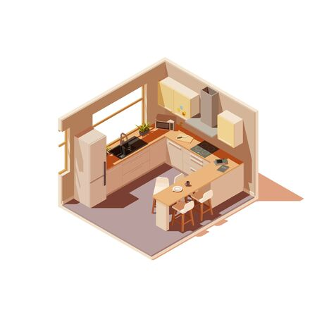 Vector isometric kitchen interior cross-section with island Reklamní fotografie - 131856855