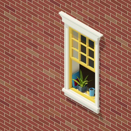 Vector low poly isometric brick house window. Çizim