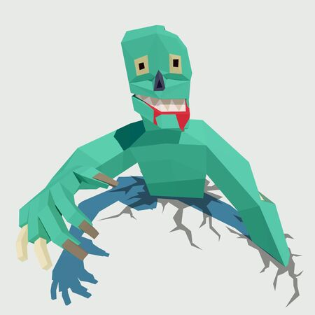 Vector green zombie. Low poly illustration for halloween.
