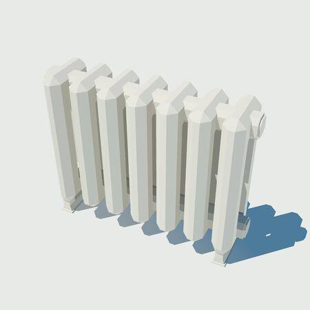 Vector cast iron radiator. Low poly illustration.