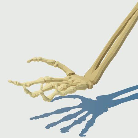 Vector isometric skeleton hand. Illustration for Halloween