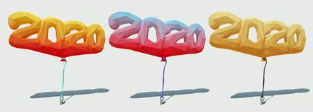 Low poly polygonal balloons 2020. Vector 3d illustration.