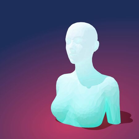 Vector low poly female torso with head