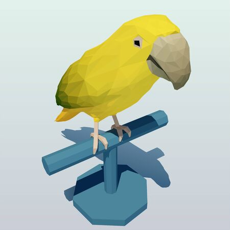 Vector polygonal yellow-green parrot on a stand rack