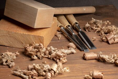 Carpenter cabinet maker hand tools on the workbench
