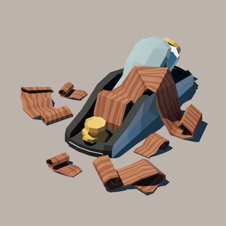 Vector polygonal Block Plane with wood shavings. Low poly 3d vector illustration. Ilustracja
