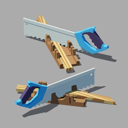 Vector polygonal Miter box with a hacksaw. Low poly 3d vector illustration. Ilustracja