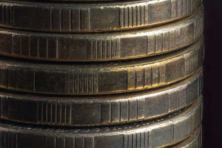 Close-up Stack of coins. Concept of saving money. Stock Photo