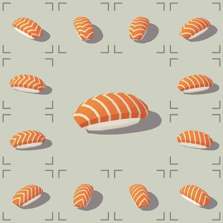 Low poly vector isometric sushi with salmon