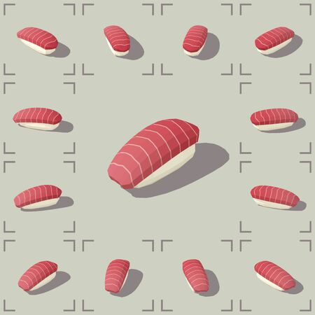 Low poly vector isometric sushi with tuna
