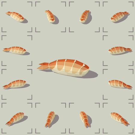 Vector isometric sushi with shrimp. Low poly 3d vector illustration.