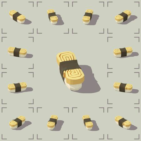 Low poly vector isometric sushi with omelette