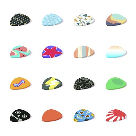 Set of isometric colorful guitar picks with shadow