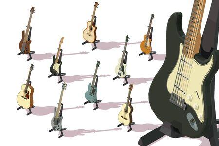Set of isometric acoustic guitars, electric guitars, bass guitars 向量圖像