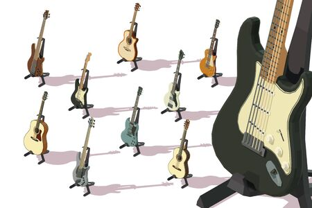 Set of isometric acoustic guitars, electric guitars, bass guitars Illustration