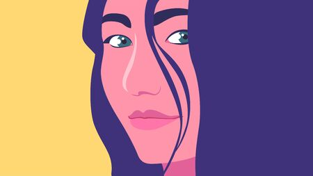 Portrait of a woman. The head of a girl. Minimalist. Vector flat illustration
