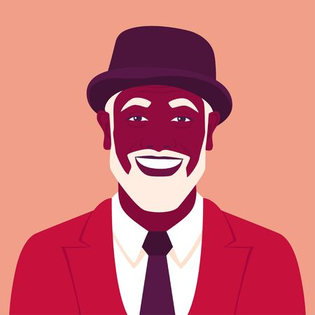 Portrait of an old African man. Stylish grandfather avatar in a suit with a hat and with a beard. Vector flat illustration Vectores