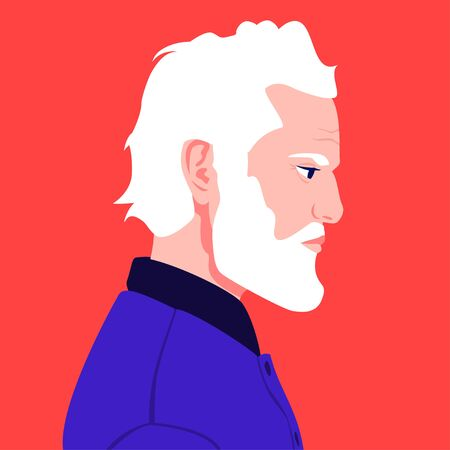 Portrait of an elderly man with a white beard in profile. Stylish grandfather avatar for social networks. Vector flat illustration Vettoriali