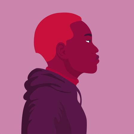 Male face in profile. Portrait of an African in a hoodie. Guy profile. Avatar. Vector flat illustration Illustration