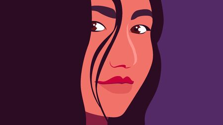 Portrait of an Hispanic woman. The head of a girl. Minimalist. Vector illustration in flat style