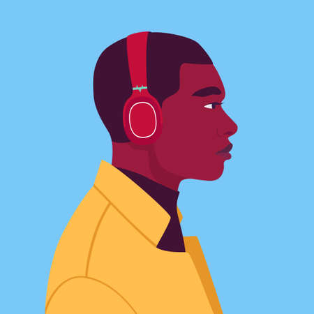 African man listen to music on headphones