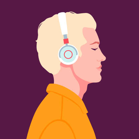 Young man listen to music on headphones. Music therapy. Illustration