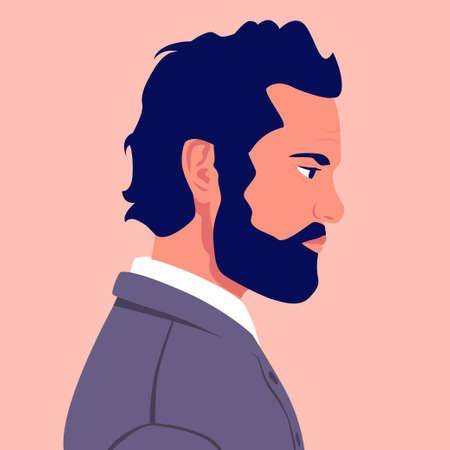 Head of an elderly man with a beard in profile