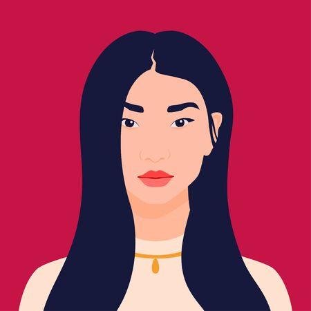 Avatar of an Asian girl. Happy eastern student. Avatar for social networks. Vector flat illustration