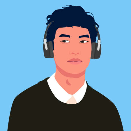 Asian man listen to music on headphones