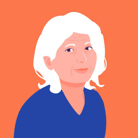 Portrait of an old woman. Avatar happy grandmother. Avatar for social networks. Vector flat illustration