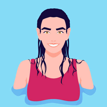 Portrait of a woman with wet hair in the water. Summer holidays in the southern resorts. Vector flat illustration Illustration