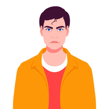 Portrait of a young man with mixed feelings Illustration