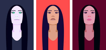 Portrait of a young woman with long straight hair Stock Vector - 151305446