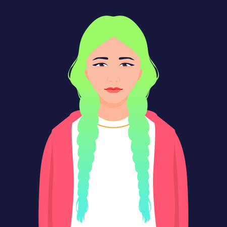 Avatar of an Asian girl with colored hair