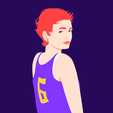 Portrait of a happy red haired girl. Girl in a basketball uniform. Avatar of a student. Vector flat illustration Vettoriali