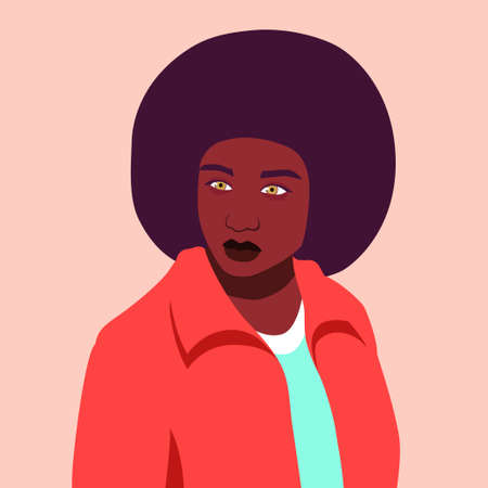 Portrait of african woman with afro hairstyle. Avatar for social networks. Vector flat illustration Stock Vector - 151285958